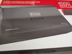 Car amplifier : BOSS elite 4000 watts monoblock 1 ohm stable built in crossover 40a×3 fusea & bass control ( brand new price is lowest no install ) for Sale in Santa Ana, CA