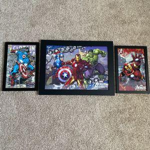 Avengers - Framed Wall Decor - 3 pack - 3D! Ironman, Captain America, Hulk for Sale in Corona, CA