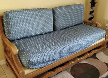 Beautiful Solid Wooden Blue Couch for Sale in Clearwater,  FL