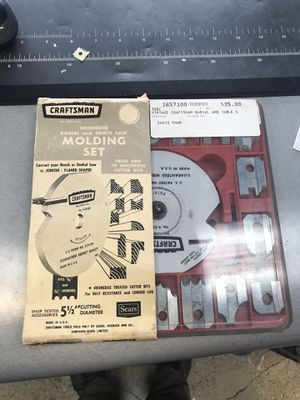 Vintage craftsman radial and table saw molding set 9-3215 USA for Sale in Barstow, CA