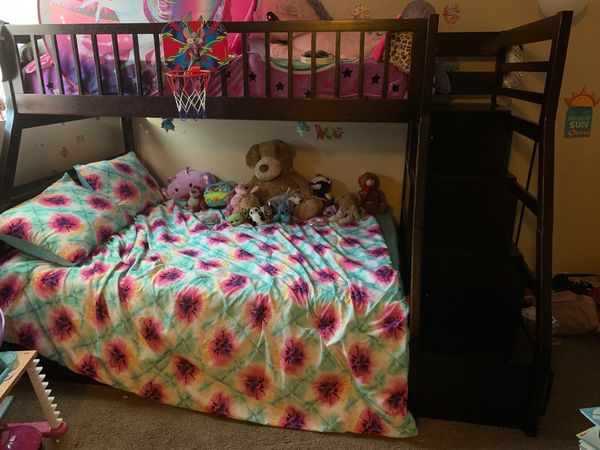 Kids Bunk Bed with Drawer Stairs (With Full and Twin mattresses)