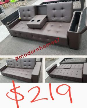 Sofa bed sleeper couch futon with storage for Sale in Rancho Cucamonga, CA