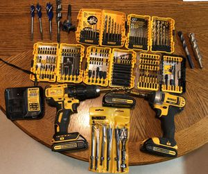 DeWalt 20 volt cordless drill and ratchet drill. Lots of assorted bits. for Sale in Two Rivers, WI