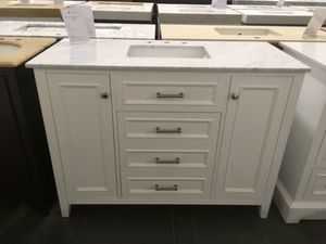 """48"""" white single sink bathroom vanity with carrara white marble top for Sale in March Air Reserve Base, CA"""
