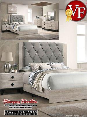 **NEW ARRIVAL** 4-PCS BEDROOM SET BED+DRESSER+MIRROR-NIGHTSTAND (mattress not included) $548 for Sale in Bellflower, CA