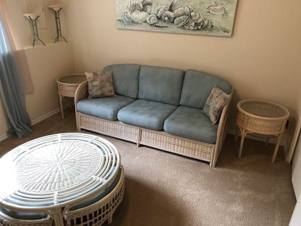 Rattan couch, side tables and coffee table