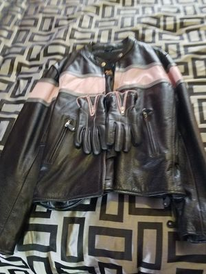 Xelement Women's Leather Motorcycle Jacket with matching gloves. for Sale in Romulus, MI