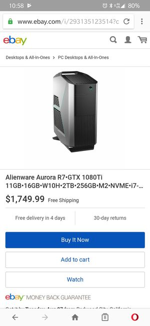 Alienware Aurora gaming PC I7 8700 Nvidia GTX 1080TI SSD best price for Sale in Oceanside, CA