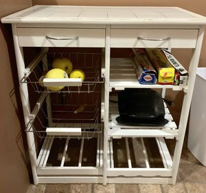 White tiled kitchen storage shelf table for Sale in New York, NY
