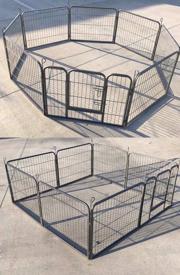 New in box 24 inch tall x 32 inches wide each panel x 8 panels exercise playpen fence safety gate dog cage crate kennel for pet