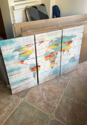 Three Panel World Map Canvas (Never Used) for Sale in Washington, DC