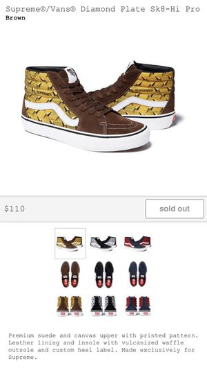 Supreme/Vans Diamond Plate Sk8-Hi Pro Yellow/Brown for Sale in New York, NY