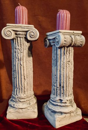 Set 2 ceramic antique style column candle holders H10/11xW3.5 inch for Sale in Chandler, AZ
