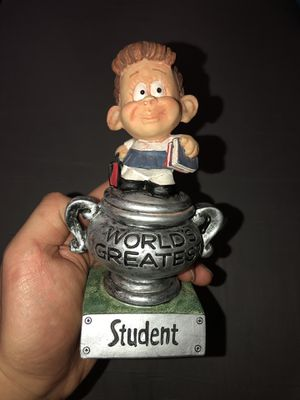 World's Greatest Student Trophy Figurine Comedic Toy Action Figure for Sale in Trenton, NJ