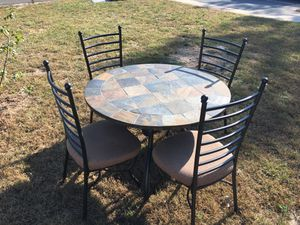 Kitchen table and 4 chairs, solid slate table top for Sale in Bayville, NJ