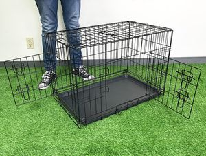 """$30 NEW Folding 30"""" Dog Cage 2-Door Folding Pet Crate Kennel w/ Tray 30""""x18""""x20"""" for Sale in Pico Rivera, CA"""