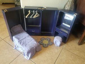 "WOODEN WARDROBE TRUNK CASE W/ CLOSET & MURPHY BED FOR 18"" AMERICAN GIRL DOLL for Sale in Waddell, AZ"