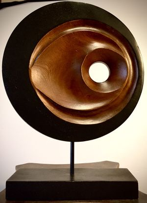 Wood carved modern decorative art from Thailand H13.5/10 xW10xW1/3 inch for Sale in Chandler, AZ