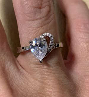 New CZ heart silver wedding ring size 7 for Sale in Inverness, IL