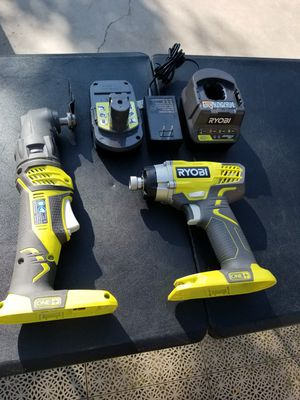 Ryobi 18vol impact drill multitool battery and charger include for Sale in Rialto, CA