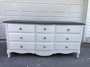 Solid Wood 9 Drawer Long Dresser White With Black Top for Sale in Woodbridge, VA
