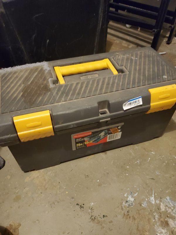 Rubbermaid tool box with plumbing fittings
