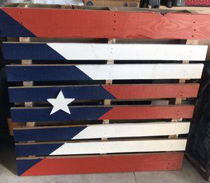 "Beautiful Puerto Rico Flag Full Pallet 42"" x 42"" Hand Painted In Amazing Condition. Paleta con la Bandera de Puerto Rico 🇵🇷 pintada a mano. for Sale in Kissimmee, FL"