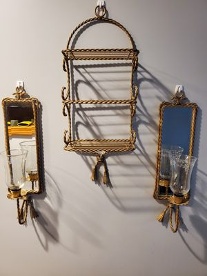 Beautiful (metal) vintage set of 2 mirrored candle wall sconces with peg votive cups and matching shelf. for Sale in Cranston, RI