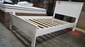 TWIN SIZE Wood Platform Bed with Headboard / No Box Spring Needed / Wood Slat Support, White| 7582T-WH for Sale in Fountain Valley, CA