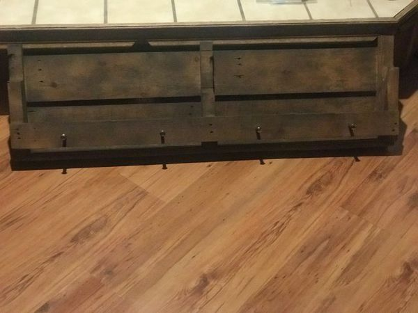 Handmade Rustic bookshelf/shoe shelf with knobs to hang up coats
