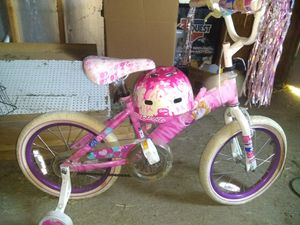 Barbie bike helmet and training wheels for Sale in Evansville, IN