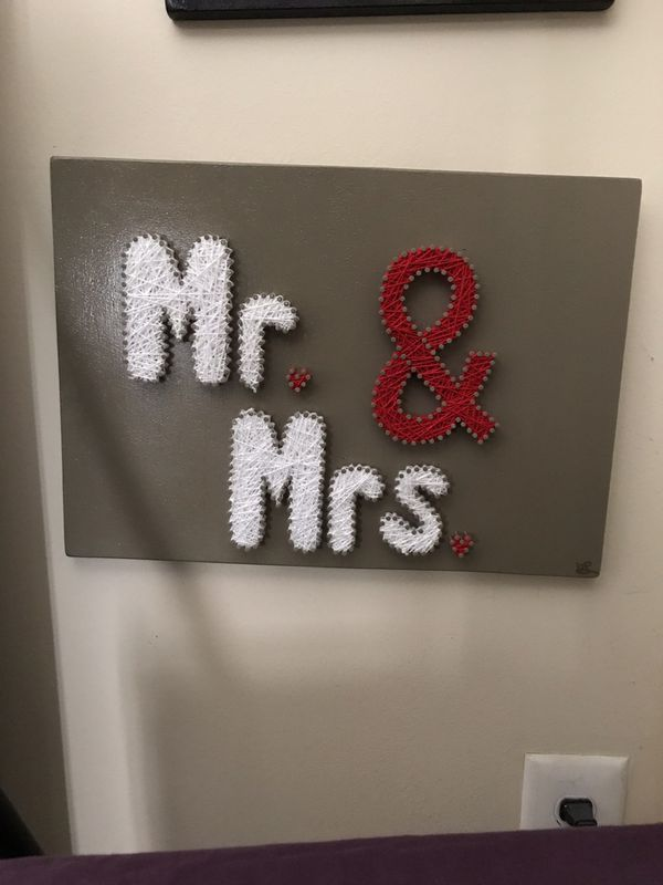 Mr and Mrs wedding sign string art