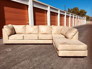 Tan colored two piece microfiber sectional couch.. CAN DELIVER 😃 for Sale in Las Vegas, NV