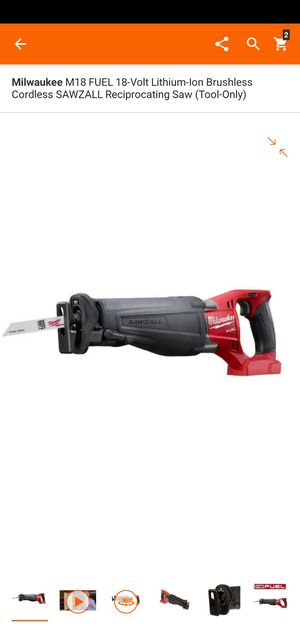 Milwaukee M18 FUEL 18-Volt Lithium-Ion Brushless Cordless SAWZALL Reciprocating Saw (Tool-Only) for Sale in Dumfries, VA