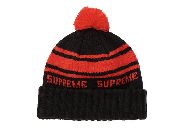 Supreme Red and Black Striped Beanie