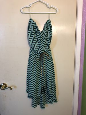 Sea-foam & Black Zigzags Halter Dress with Braided Belt (S) for Sale in South San Francisco, CA