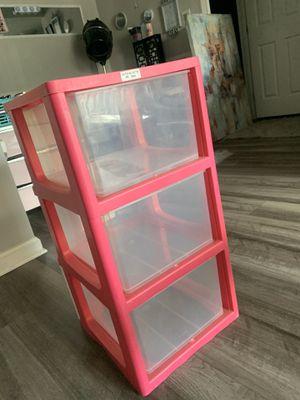 Pink 3 plastic drawer storage for Sale in St. Petersburg, FL