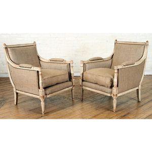 Antique Gilt Bergère Chairs - A Pair for Sale in Washington, DC