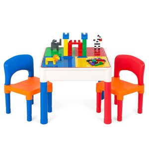 3-in-1 Kids Building Block Activity Play Table Set w/ Storage, 2 Chairs for Sale in Los Angeles, CA