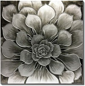 (FREE SHIPPING) Home Décor 3D Silver Gray Flower Canvas Wall Art for Sale in Lansing, MI