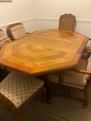 Wood antique dining table with two extendable slates and 6 chairs for Sale in Manassas Park, VA