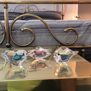 Three Solid Glass Fish for Sale in Palm Beach, FL