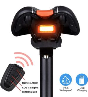 NEW Bike Tail Light Rechargeable, Anti-Theft Alarm, Warning Electric Horn, Bike Finder with Remote, Electric Mountain Bike Accessories for Sale in Glendora, CA