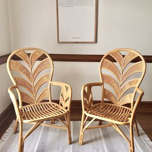 Gorgeous Pair Of Mid Century Natural Rattan Chairs With Palm Tree Design for Sale in Virginia Beach, VA