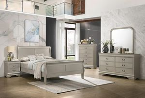 Silver queen bedroom set - bed, dresser, mirror, nightstand    SAME DAY DELIVERY 🚚 for Sale in Rosenberg, TX