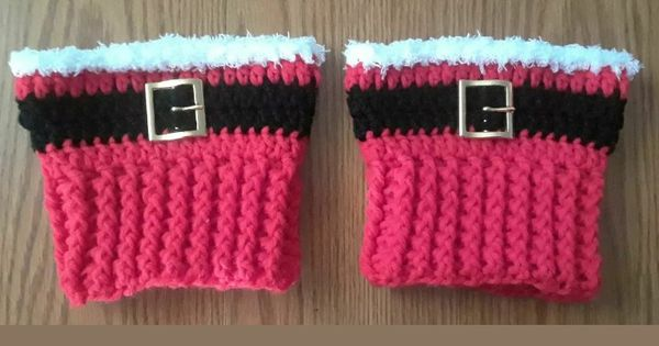 New Crochet Santa Boot Topper Cuffs w/ Metal Buckle