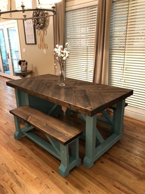"""Adeline"" 6x3 Herringbone Custom Built Table with Built-in Bookshelves for Sale in Anderson, SC"