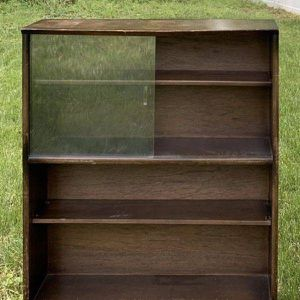 Vintage Antique Mid Century Modern MCM Wood And Glass 4 Tier Barrister Lawyer's Style Bookcase Shelf Display Cabinet for Sale in Chapel Hill, NC