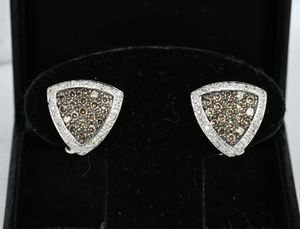 14k White Gold Diamond Earrings 1.18 ctw French Clip Chocolate and White w 6.73 g for Sale in Goodyear, AZ