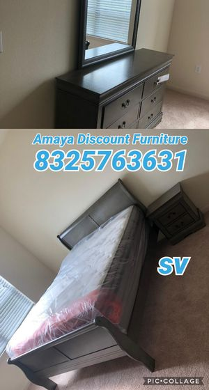 5pc bedroom set queen with mattress set pillow top for Sale in Houston, TX